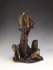 "Chthonic Exhumation, Mid-Range Stoneware with Slips, Stains, and Glazes 11"" X 11"" X 16"", 2015"