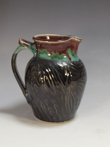 "Small Carved Pitcher, Mid-Range Porcelaneous Stoneware 5"" X 6"" X 7"". 2015, $75"