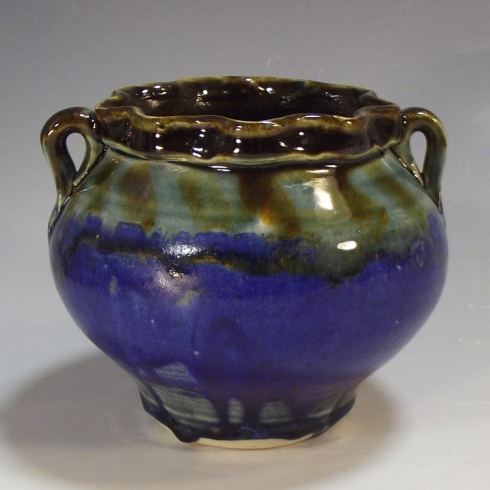 "Two Handled Jar, Mid-Range Porcelain, 6"" X 5"", 2015"