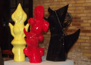 """Sculpture Group-Chymical Wedding"""" Series, 2013-2015 Red-Voluptuary, Low Fire Earthenware, 25"""" X 12"""" X 7""""Yellow-Arising Balance, Low Fire Earthenware, 8"""" X 10"""" X 27""""Blue Black- Demiurge, Mid-Range Stoneware, 14"""" X 15"""" X 27"""""""