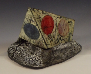 """Future Memory Objectified, Cone 04 Earthenware with Decals, 11"""" X 17""""X12, 2014"""